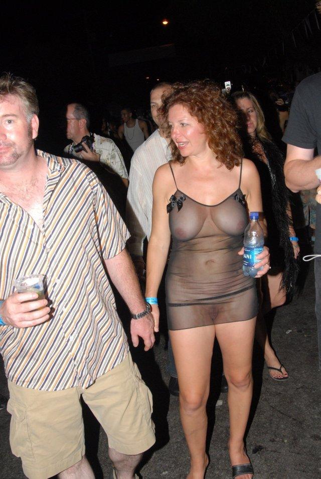 see through dress at bar