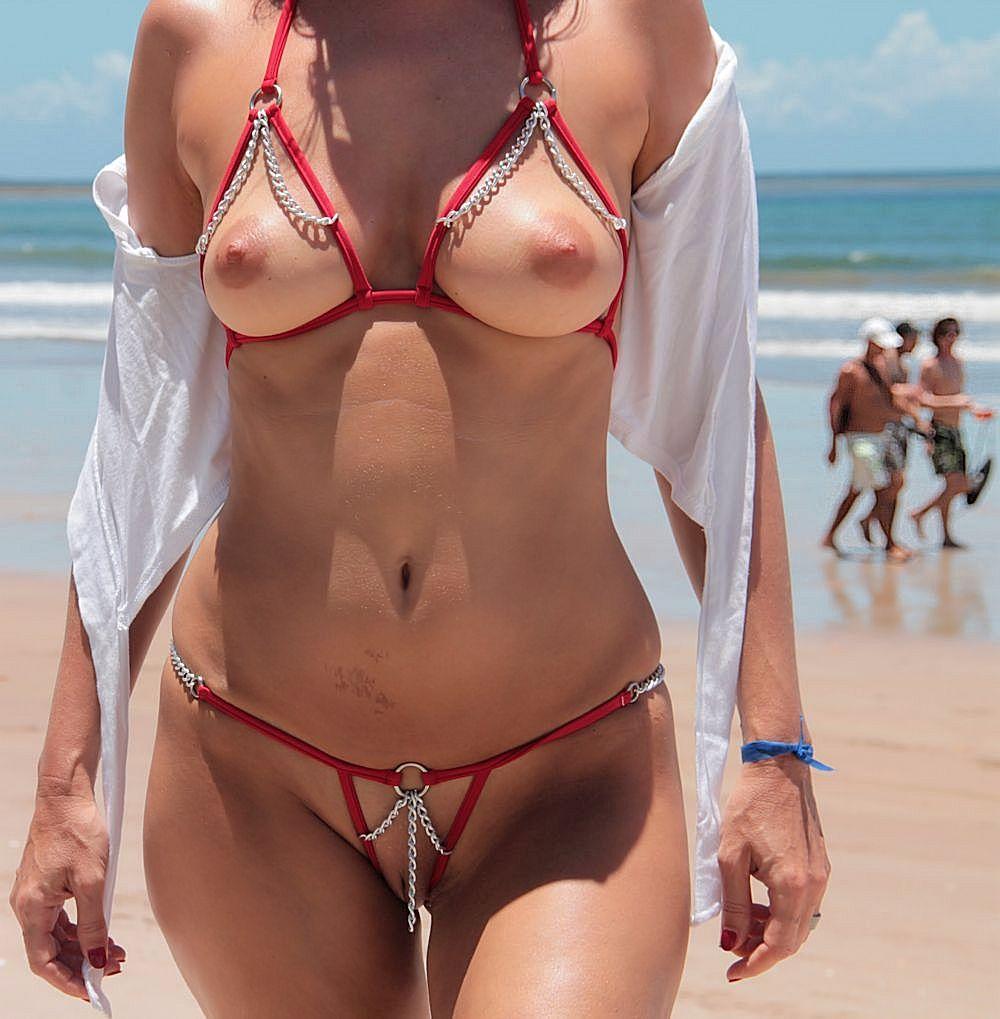 wife in crotchless bikini has no shame on public beach [gallery]. 3