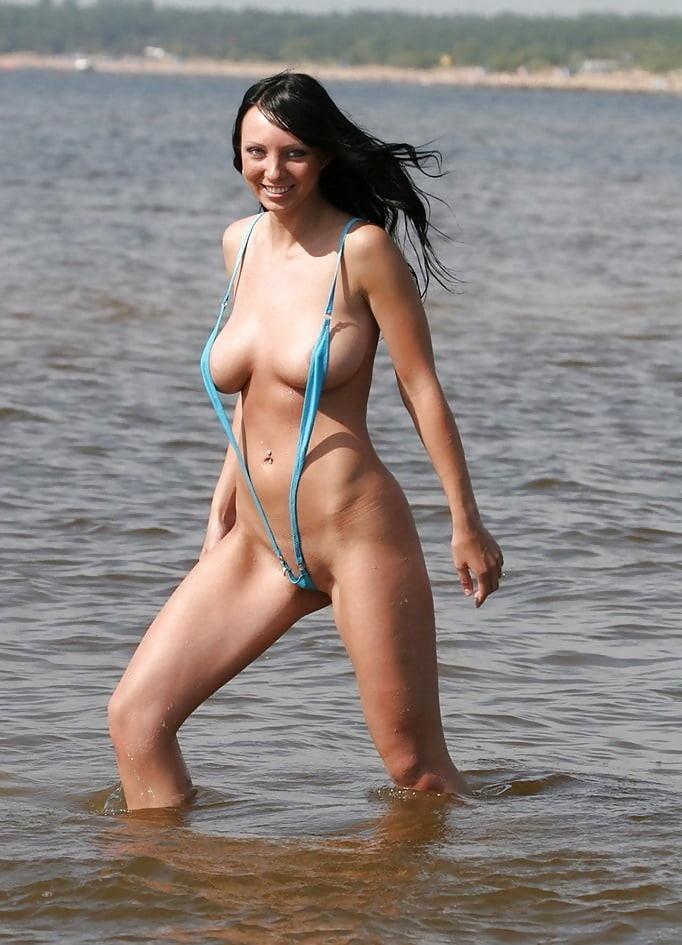 big titty girl in a sling bikini