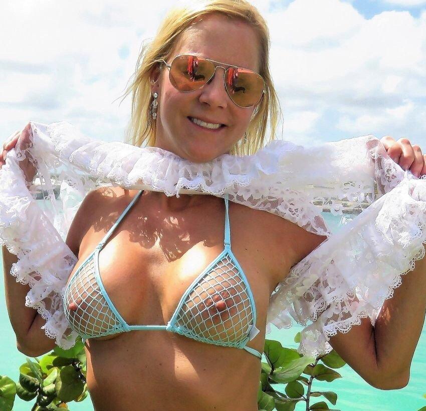 milf in mesh bikini