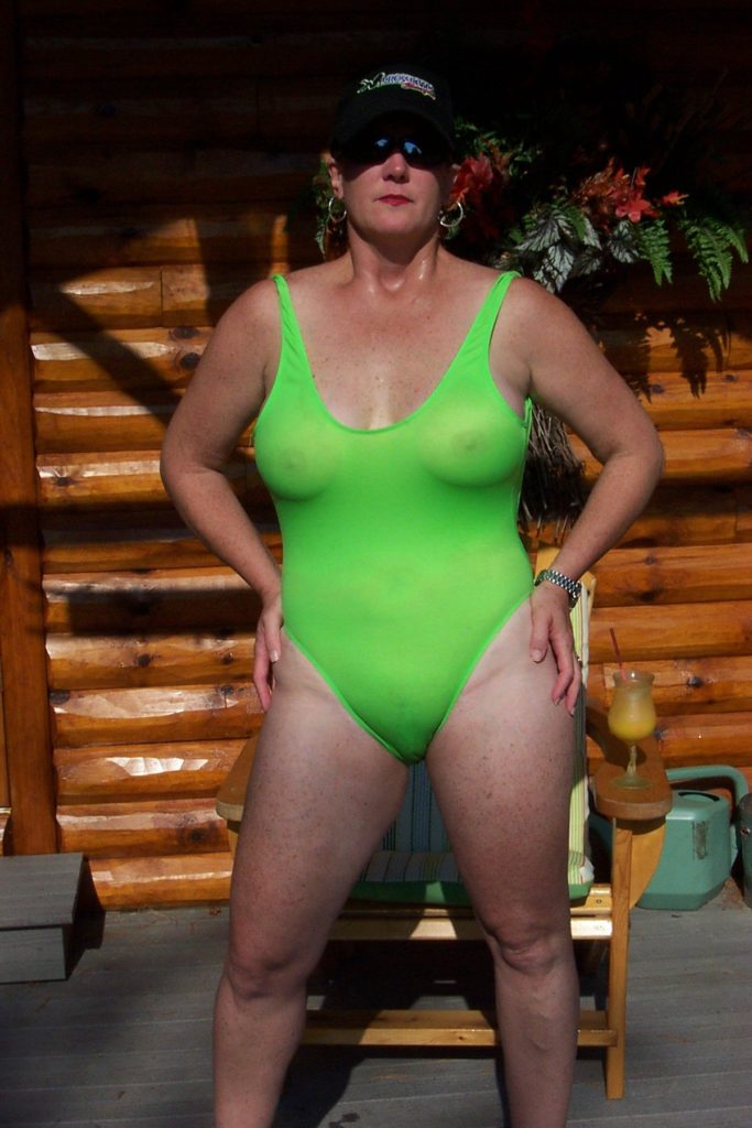 mom in see through green one piece