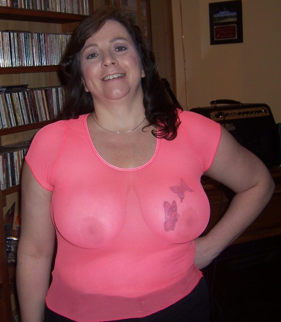 chubby amateur milf in see through shirt at home