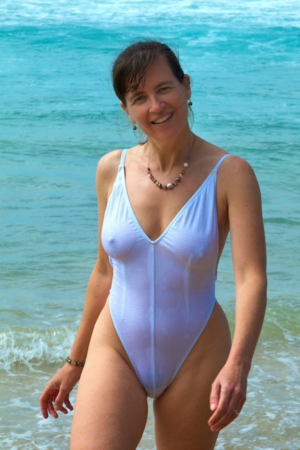 older milf in see through one piece