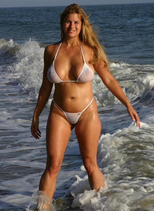 big tits in a sheer bikini in public