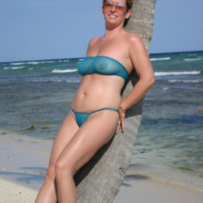 milf in completely sheer bikini in public