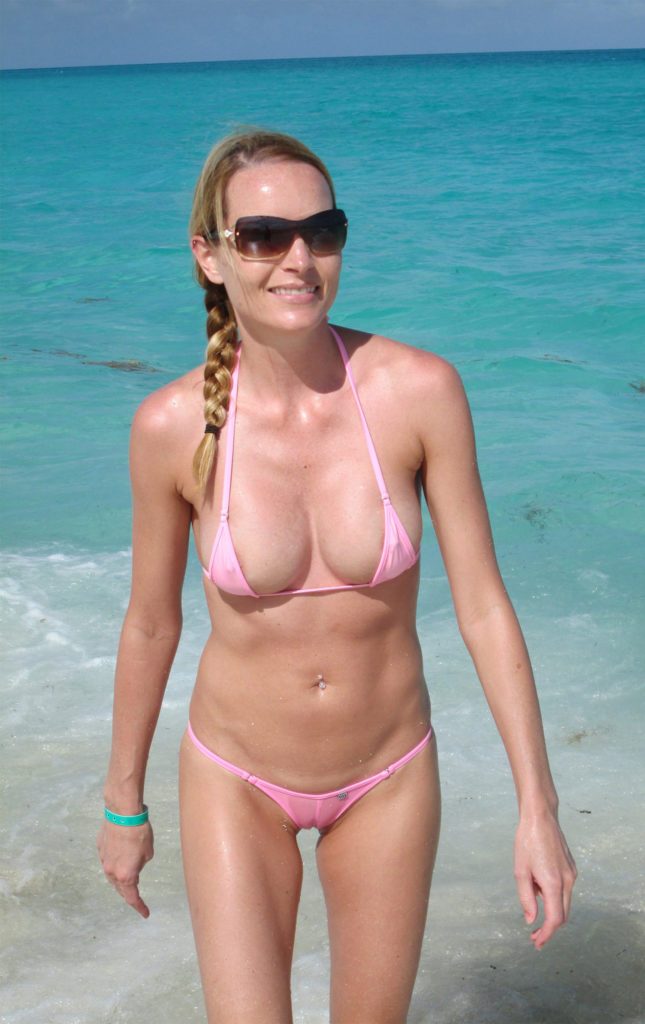 milf with big tots and tiny little pussy on the beach