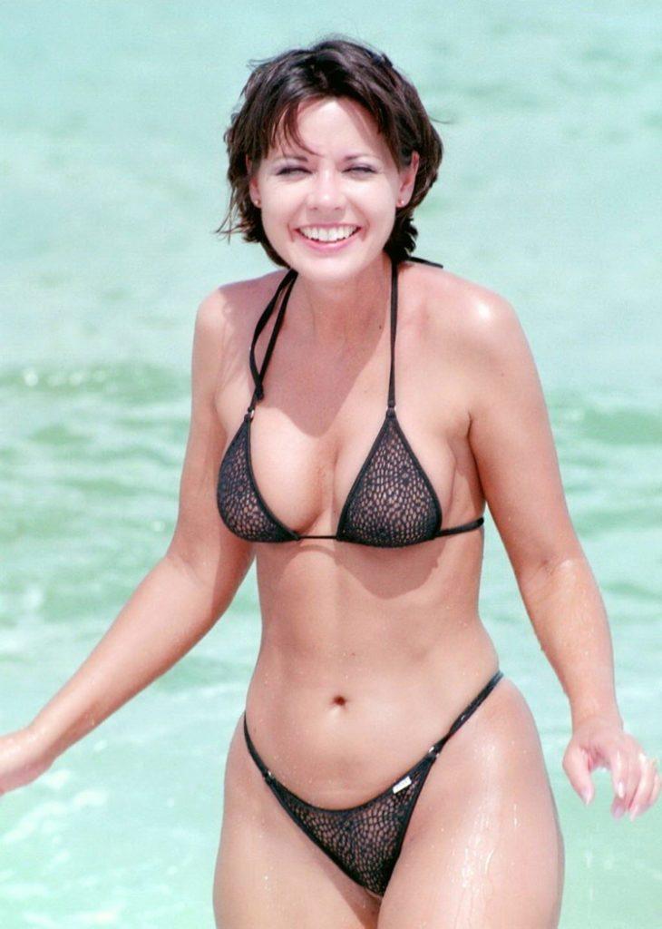 cute fit mom in sheer bikini
