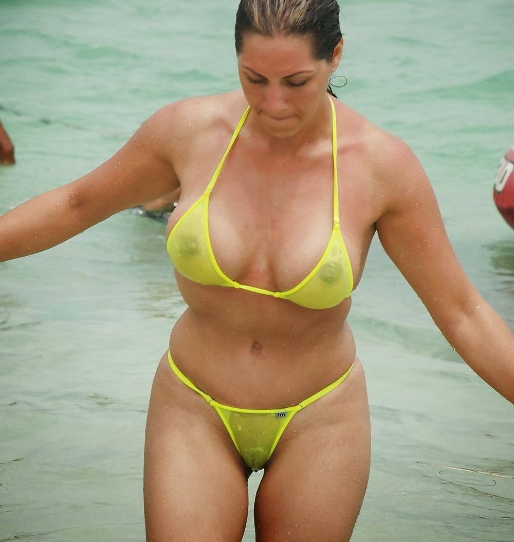 mom in public in a see through bikini
