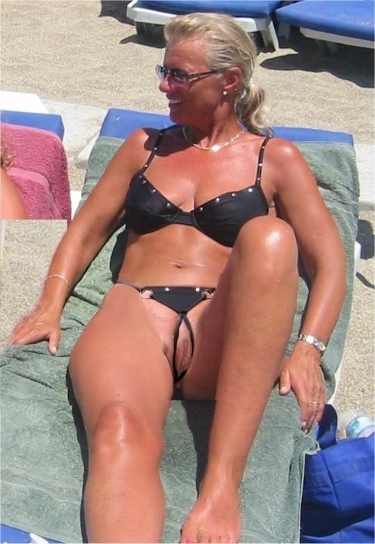 crotchless bikini an the beach