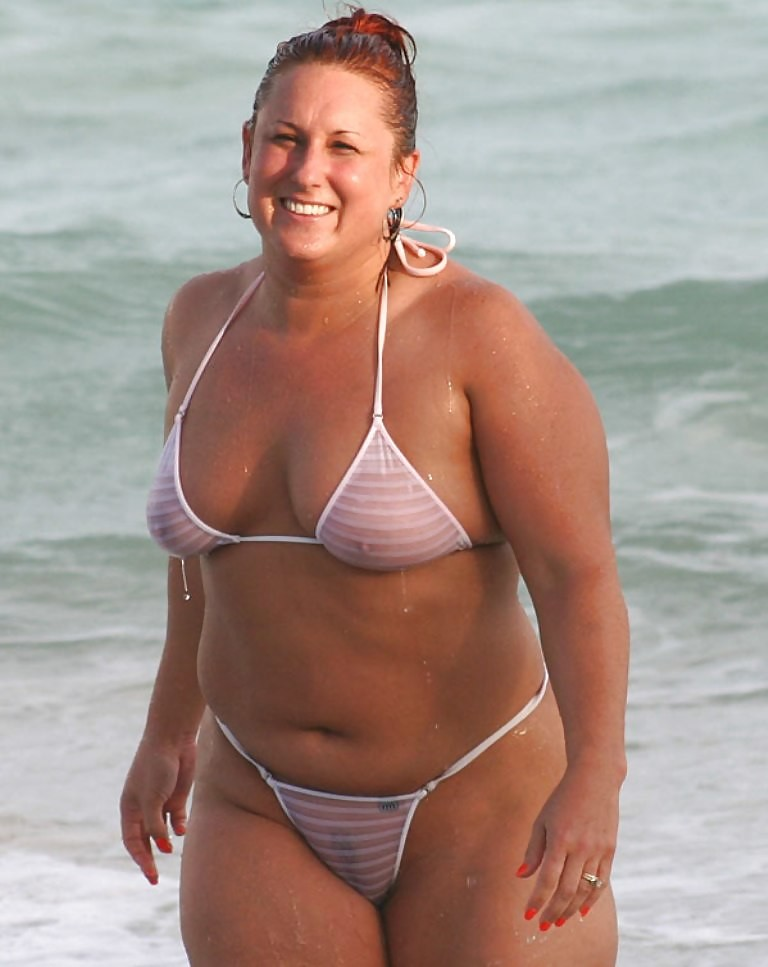 chubby girl in a see through bikini in front of everyone