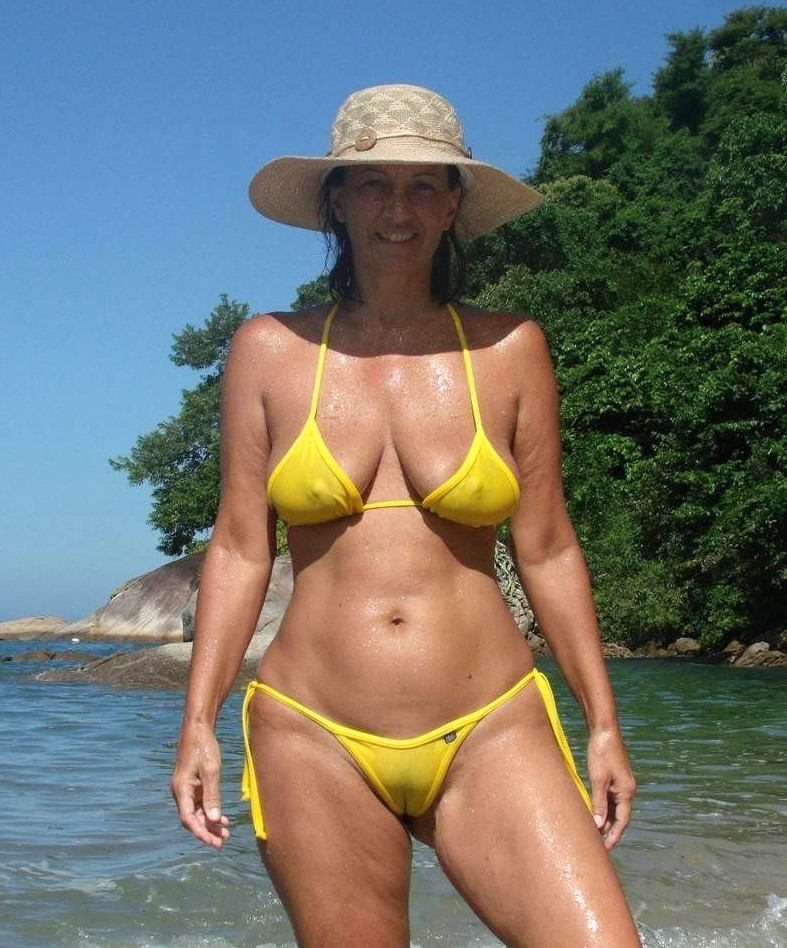 fit mom in very sheer bikini