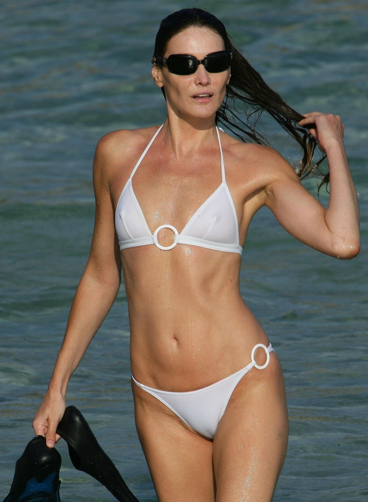 fit slim milf in see through bikini unaware