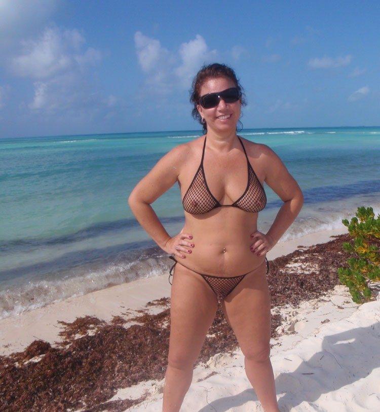 confident mom in sheer bikini