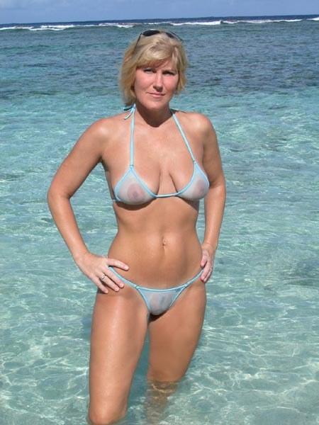 fit milf in see through bikini