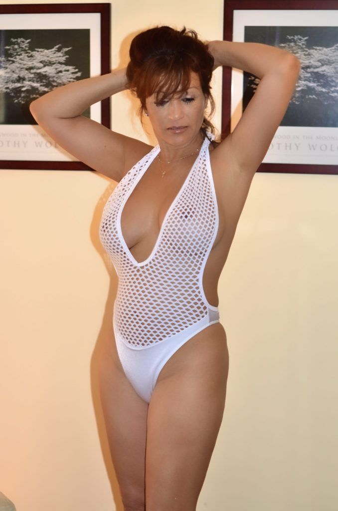 milf with big tits in see through one piece