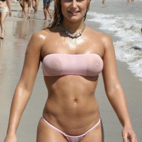 see through bikini on a public beach