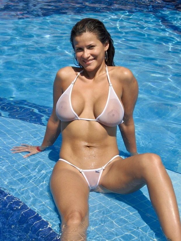 big tits milf at the pool