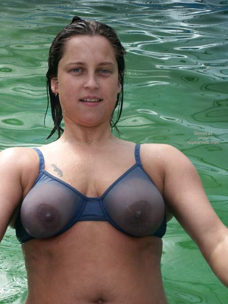 butterface girl with big tits in a see through bikini