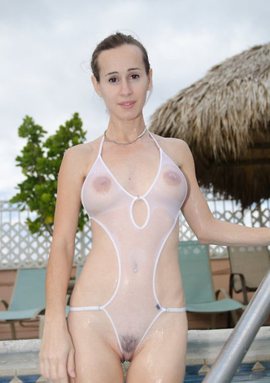young milf in very sheer one piece