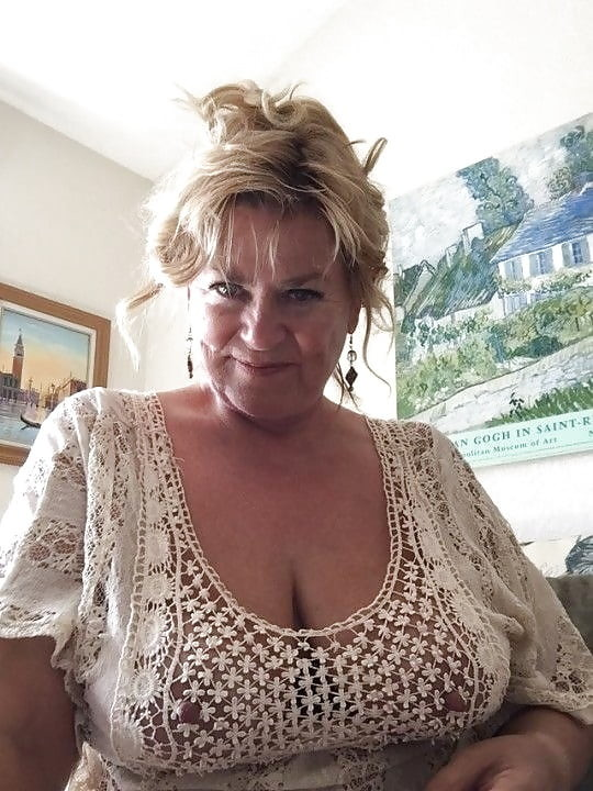 grandma with big tits in a see through shirt
