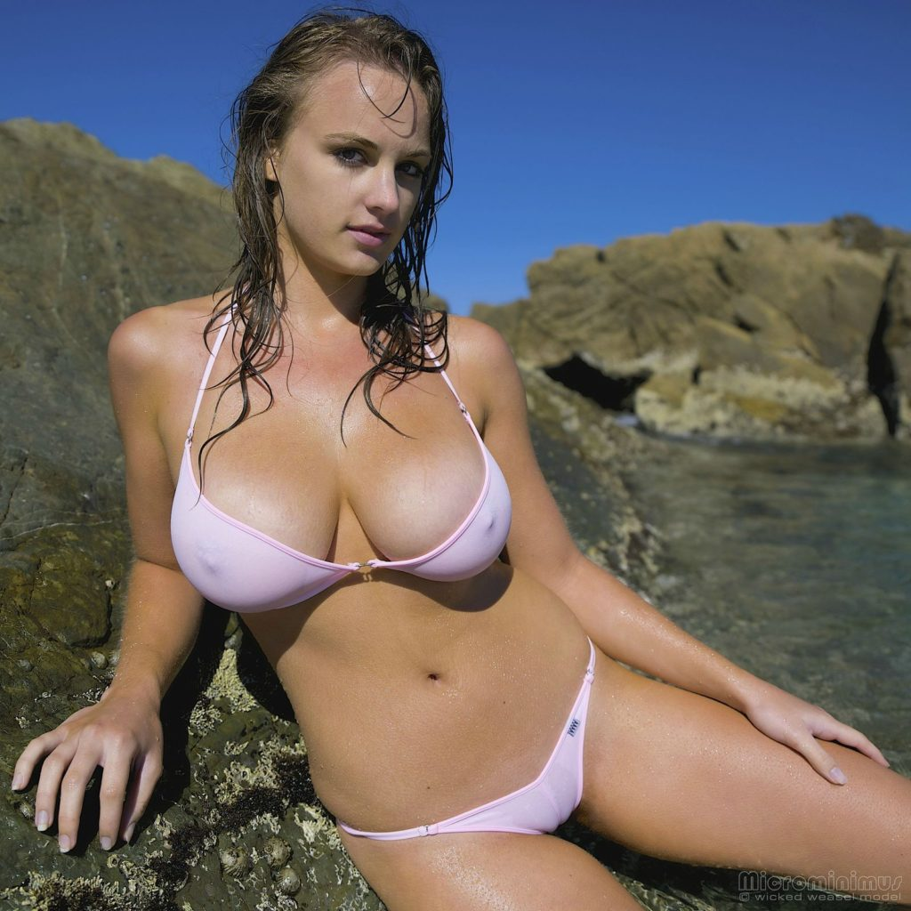 beautiful girl in see though bikinis at the beach