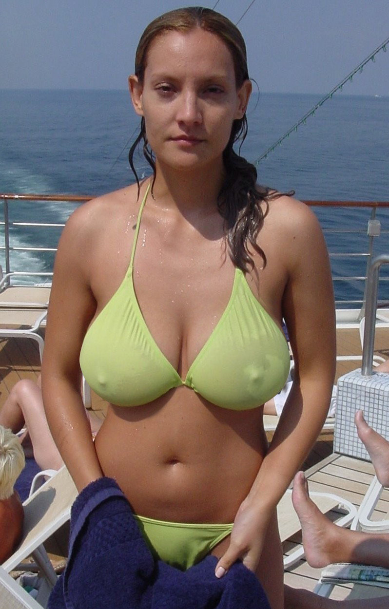 big tits in a see through bikini by accident