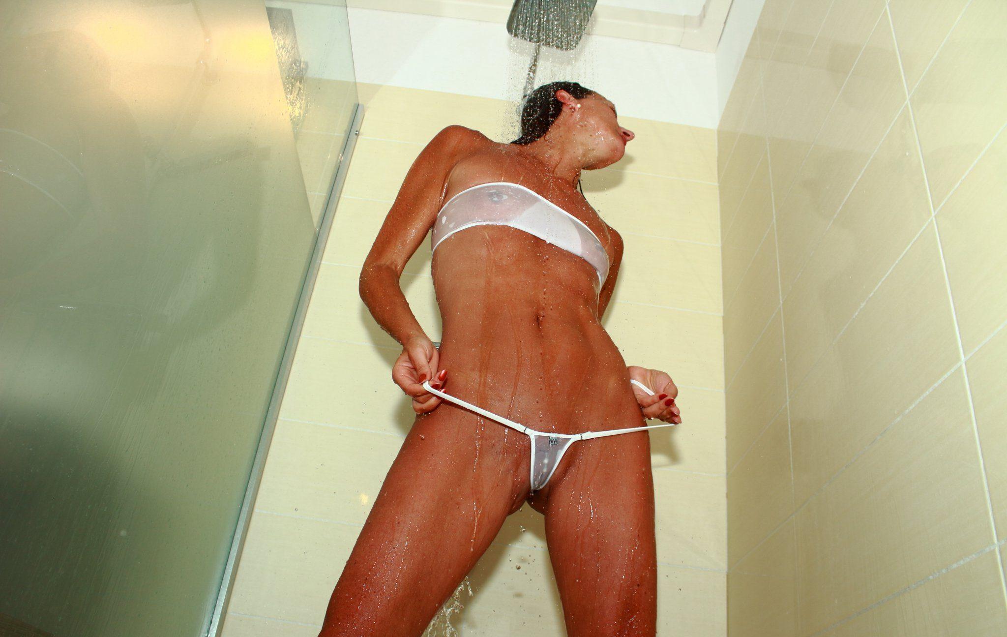 shower see through bikini