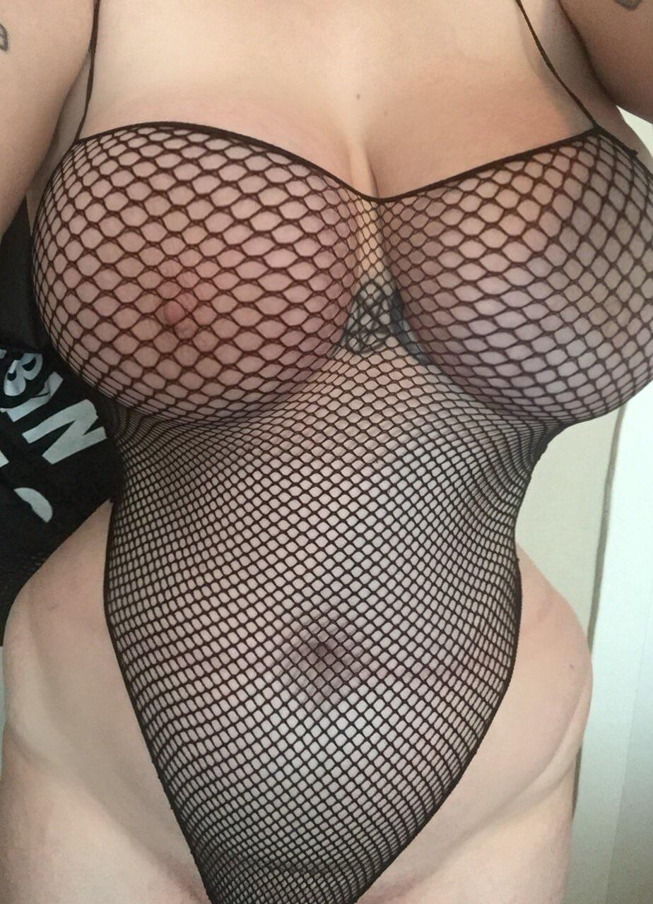 huge tits in fishnet one piece