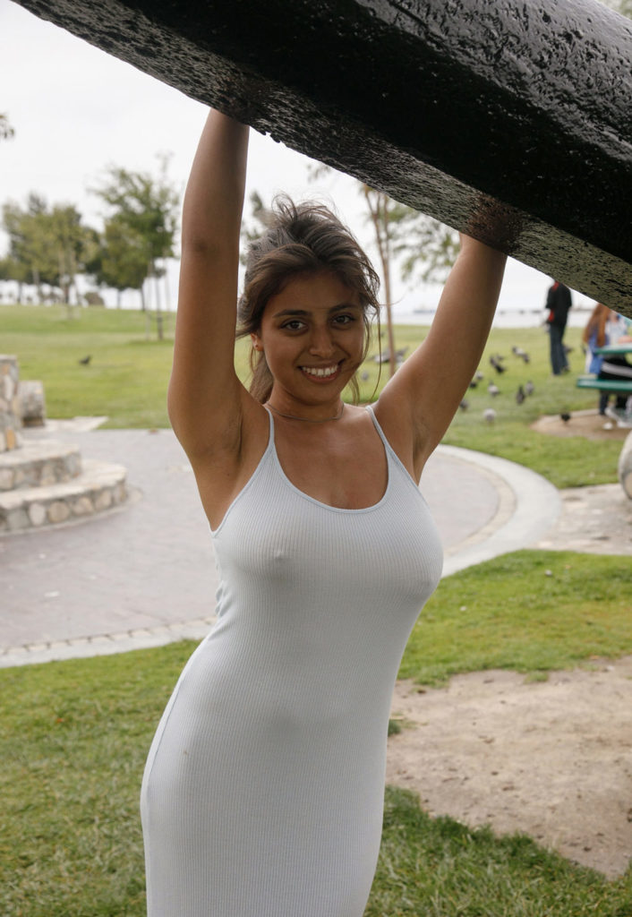 big tits in public in see through dress